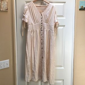 Cream Button-Up Tie Sleeve Midi Dress